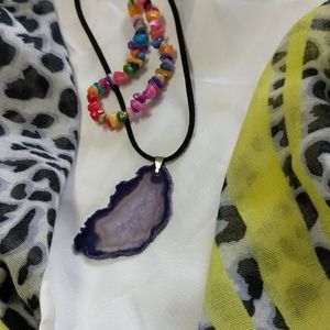 Jewelry - *3 for $20*Agate slice necklace with bracelet